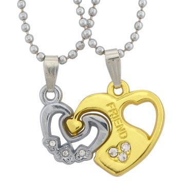 SUKKHI | Sukkhi Valentine Heart Friend Dual Tone 2pcs Pendant With Chain Set For Men