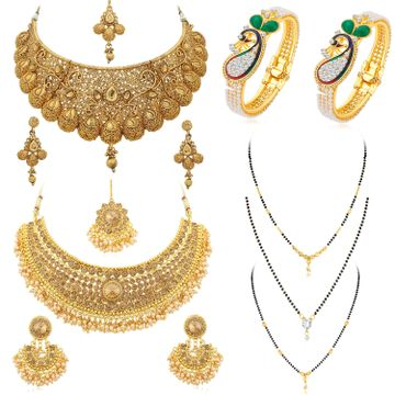 SUKKHI | Sukkhi Fascinating Pearl Gold Plated Necklace Mangalsutra & Kada Combo for Women