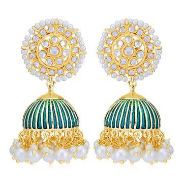 SUKKHI | Sukkhi Stunning Pearl Gold Plated Kundan Meenakari Jhumki Earring for Women