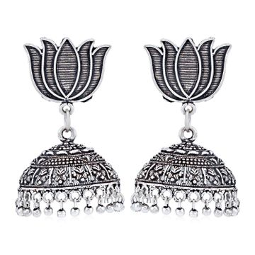 SUKKHI | Sukkhi Pleasing Oxidised Lotus Jhumki Earring for Women