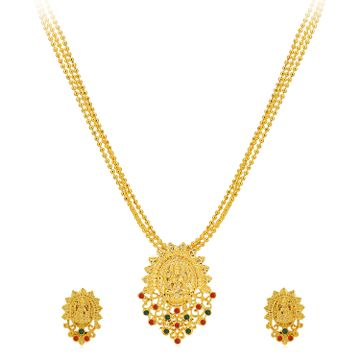 SUKKHI | Sukkhi Classic Gold Plated Goddess Laxmi Multi-String Necklace Set for Women