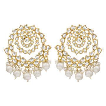 SUKKHI   Sukkhi Splendid Pearl Gold Plated Kundan Dangle Earring For Women
