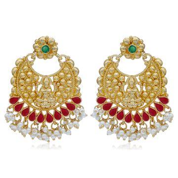SUKKHI | Sukkhi Ethnic Pearl Gold Plated Goddess Chandbali Earring For Women
