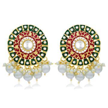 SUKKHI | Sukkhi Classic Pearl Gold Plated Kundan Meenakari Stud Earring For Women