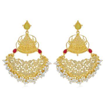 SUKKHI   Sukkhi Glitzy Gold Plated Pearl Dangle Earring For Women