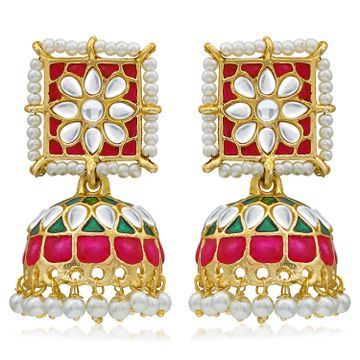 SUKKHI | Sukkhi Ethnic Pearl Gold Plated Kundan Meenakari Jhumki Earring For Women