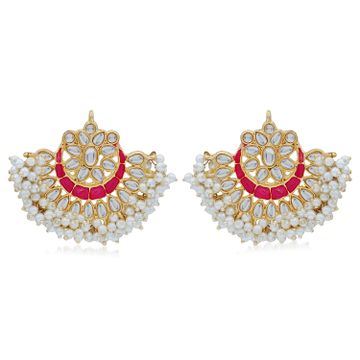 SUKKHI | Sukkhi Splendid Pearl Gold Plated Kundan Meenakari Chandbali Earring for Women