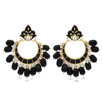 SUKKHI | Sukkhi Astonish Pearl Gold Plated Kundan Meenakari Chandbali Earring for Women