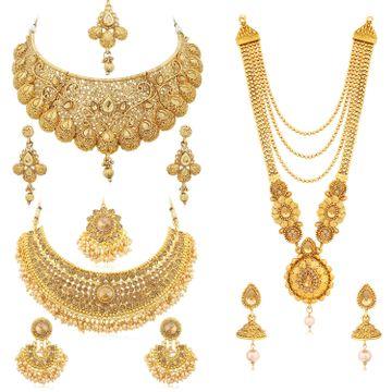 SUKKHI | Sukkhi Spectacular LCT Gold Plated Pearl Choker & Long Haram Necklace Set Combo for Women