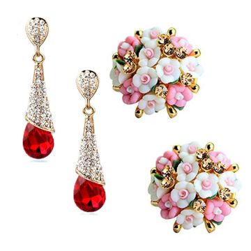 SUKKHI | Sukkhi Dazzling Gold Plated Floral Crystals from Swarovski Dangle Earring Combo For Women