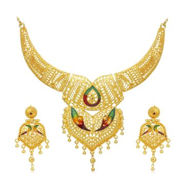 SUKKHI | Sukkhi Ethnic 24 Carat Gold Plated Meenakari Choker Necklace Set for Women
