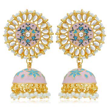 SUKKHI | Sukkhi Dazzling Pearl Gold Plated Kundan Floral Meenakari Jhumki Earring for Women
