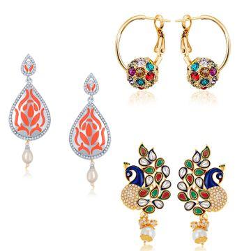 SUKKHI | Sukkhi Adorable Pearl Oxidised & Gold Plated Kundan Peacock Meenakari Combo Set of 3 Earring for Women