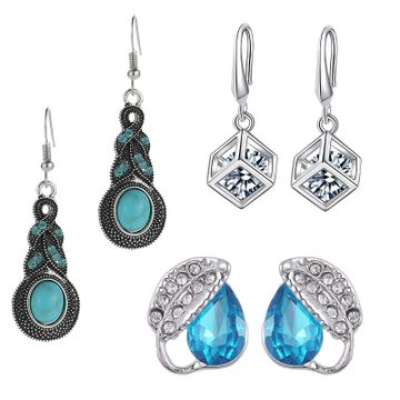 SUKKHI | Sukkhi Classy Swarovski Crystal Rhodium Plated Combo Set of 3 Earrings for Women