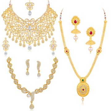 SUKKHI | Sukkhi Gleaming Gold Plated Austrian Diamond Necklace Combo Set of 3 for Women
