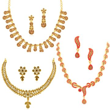SUKKHI | Sukkhi Fancy Gold Plated LCT & Red Stone Necklace Combo Set of 3 for Women