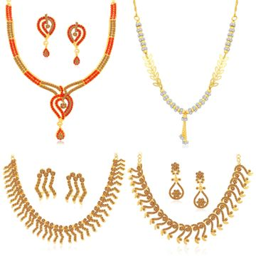 SUKKHI | Sukkhi Delightful LCT Gold Plated Austrian Diamond Necklace Combo Set of 4 for Women