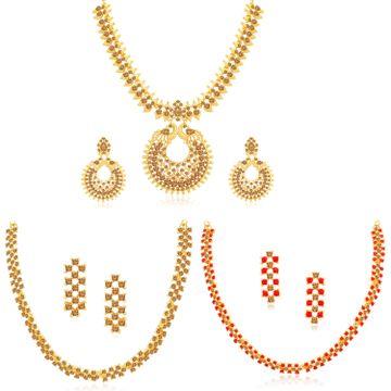 SUKKHI | Sukkhi Amazing Gold Plated LCT & Red Stone Necklace Combo Set of 3 for Women