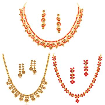 SUKKHI | Sukkhi Dazzling Gold Plated LCT & Red Stone Necklace Combo Set of 3 for Women