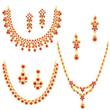 SUKKHI | Sukkhi Spectacular Gold Plated LCT & Red Stone Necklace Combo Set of 3 for Women
