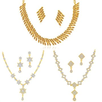 SUKKHI | Sukkhi Fancy LCT Gold Plated Austrian Diamond Necklace Combo Set of 3 for Women