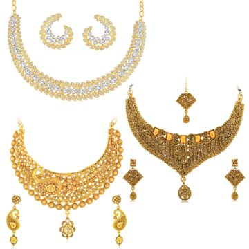 SUKKHI | Sukkhi Ravishing LCT Gold Plated Austrian Diamond Choker Necklace Combo Set of 3 for Women
