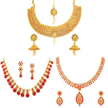 SUKKHI | Sukkhi Ethnic Gold Plated LCT & Red Stone Choker Necklace Combo Set of 3 for Women