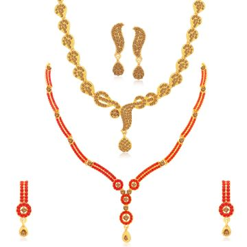 SUKKHI | Sukkhi Lovely Gold Plated LCT & Red Stone Necklace Combo Set of 2 for Women