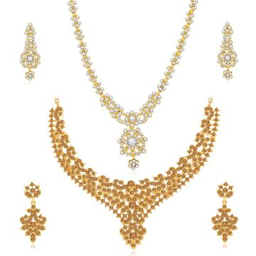 SUKKHI | Sukkhi Fancy LCT Gold Plated Austrian Diamond Necklace Combo Set of 2 for Women
