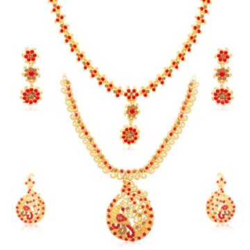 SUKKHI | Sukkhi Exclusive Gold Plated LCT & Red Stone Peacock Necklace Combo Set of 2 for Women
