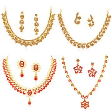 SUKKHI | Sukkhi Stylish Gold Plated LCT & Red Stone Necklace Combo Set of 4 for Women
