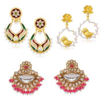 SUKKHI | Sukkhi Ethnic Kundan Gold Plated Pearl Meenakari Chandbaali Combo Set of 3 Earring for Women