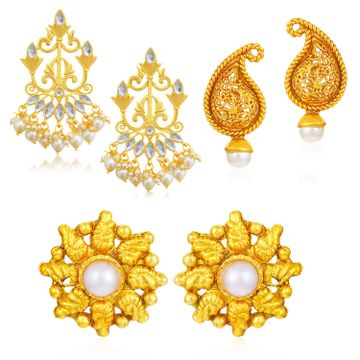 SUKKHI | Sukkhi Classic Gold Plated Pearl Combo Set of 3 Earrings for Women