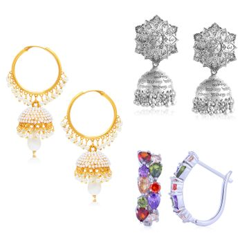SUKKHI | Sukkhi Exotic Swarovski Crystal Oxidised & Gold Plated Earring Combo Set of 3 for Women