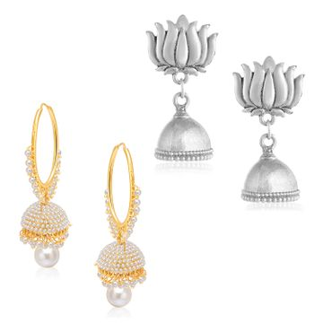 SUKKHI | Sukkhi Amazing Oxidised & Gold Plated Pearl Jhumki Earring Combo Set of 2 for Women