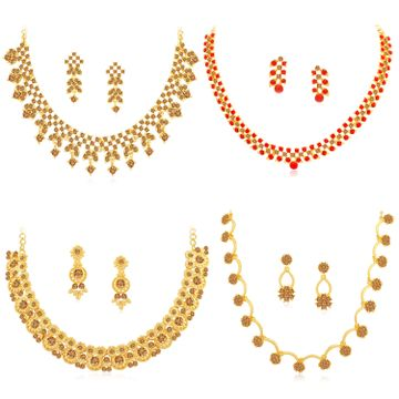 SUKKHI | Sukkhi Fashionable Gold Plated LCT & Red Stone Necklace Combo Set of 4 for Women