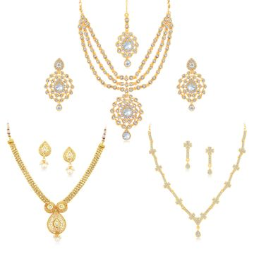 SUKKHI | Sukkhi Dazzling Kundan Gold Plated Austrian Diamond Necklace Combo Set of 3 for Women