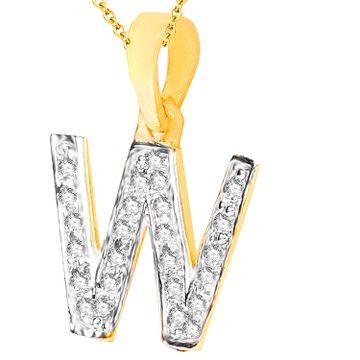 SUKKHI | Sukkhi Cubic Zirconia Stone Studded Alphabet 'W' Pendant With Chain