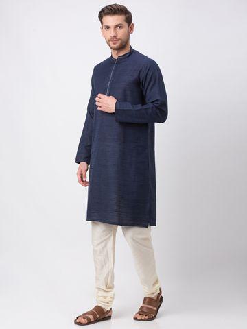 Ethnicity | Ethnicity Navy Polyester Blend Kurta