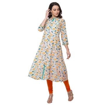 Ethnicity | Ethnicity Cotton Flax Straight Three-Fourth Women Coral Kurta