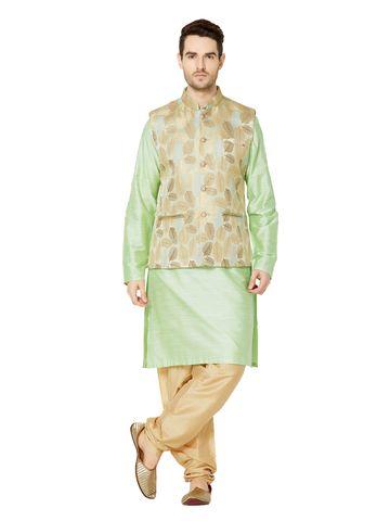Ethnicity | Gold jacquard sleeveless jacket