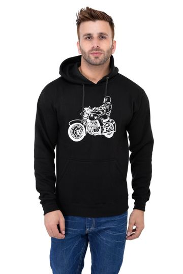Weardo | Black Stylish Bike Printed Hooded Sweatshirt