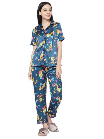 Smarty Pants   Smarty Pants women's silk satin teal blue tweety print night suit