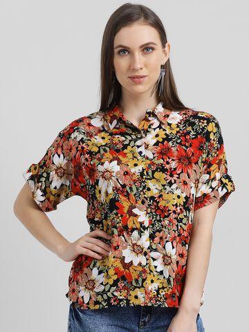 Zink London | Zink London Women's Black Printed Shirt Style Top