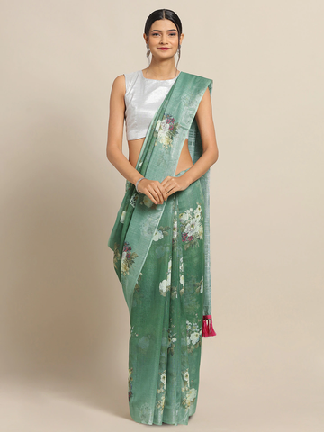 Vastranand | VASTRANAND Green & Off-White Linen Blend Printed Saree