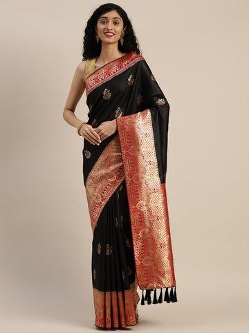 Vastranand | VASTRANAND  Black & Red Silk Blend Woven Design Banarasi Saree