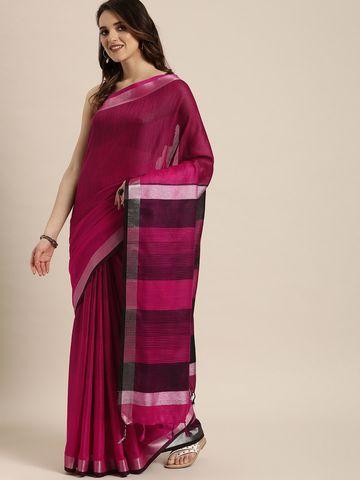 Vastranand | VASTRANAND  Pink & Black Striped Linen Blend Saree