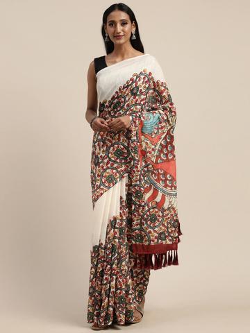 Vastranand | VASTRANAND  White & Red Linen Blend Kalamkari Printed Saree