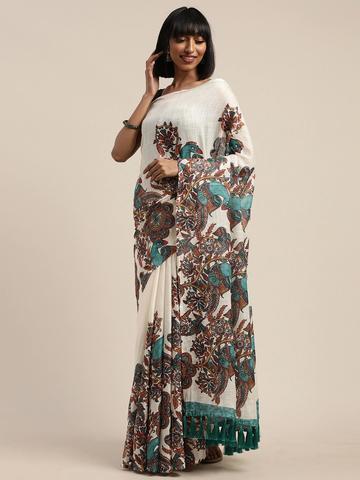 Vastranand | VASTRANAND  Cream-Coloured & Brown Linen Blend Ethnic Printed Saree