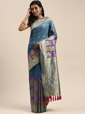 Vastranand | VASTRANAND  Blue & Gold-Toned Cotton Blend Woven Design Banarasi Saree